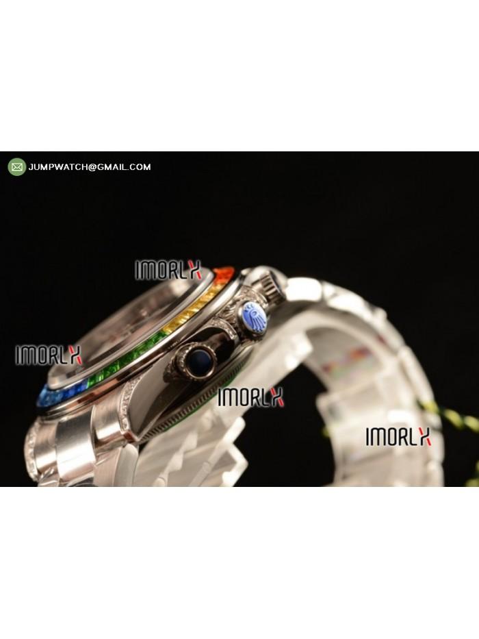 Rolex Cosmograph Daytona Rainbow Diamond SS Black Dial on Bracelet Swiss Valjoux 7750