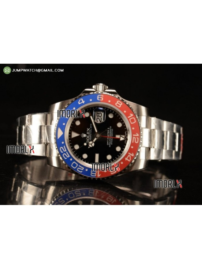 GMT-Master II SS Black Dial on Bracelet ETA 2836 1:1 Original