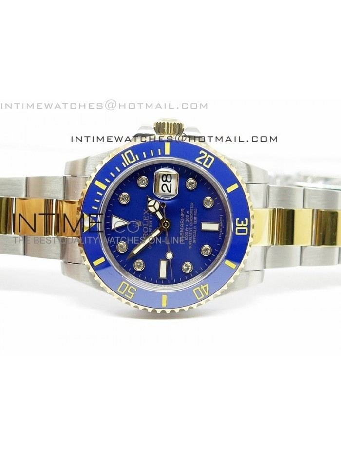 Submariner 116613 LB Diamonds Markers Black Dial on SS/YG Bracelet A2836