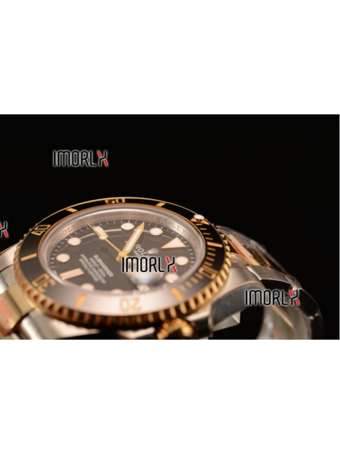 Top Quality Rolex Submariner Two Tone Case Black Dial Dots Markers Two Tone Bracelet 116613BK