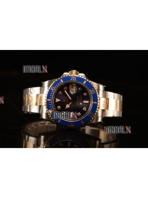 Top Quality Rolex Submariner Two Tone Case Blue Di...