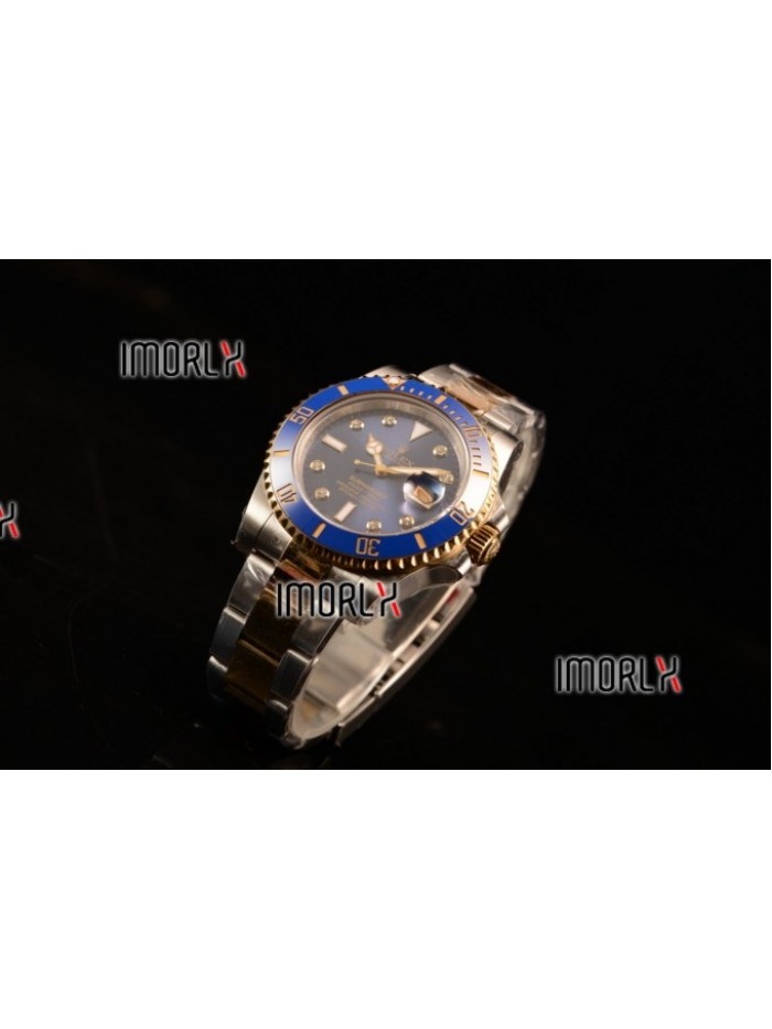 Top Quality Rolex Submariner Two Tone Case Blue Dial Diamond Markers Two Tone Bracelet 116613BL