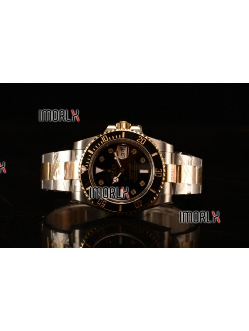 Top Quality Rolex Submariner Two Tone Case Black D...