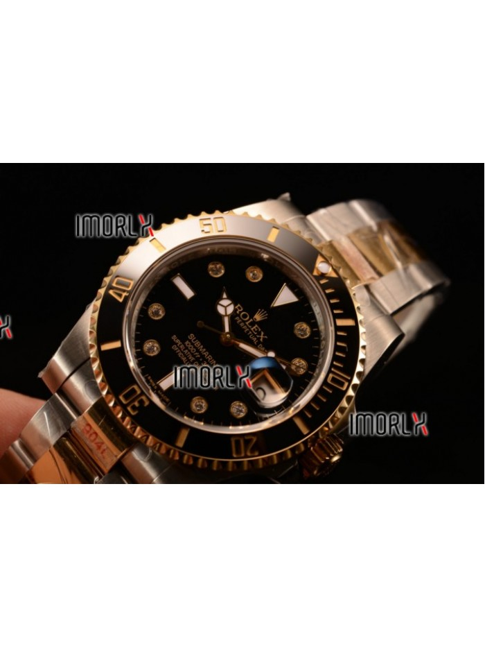 Top Quality Rolex Submariner Two Tone Case Black Dial Diamonds Markers Two Tone Bracelet 116613BKD