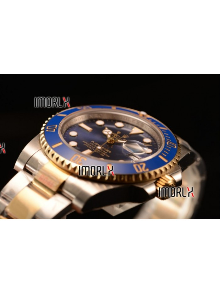 Top Quality Rolex Submariner Two Tone Case Black Dial Dots Markers Two Tone Bracelet 116613BLD