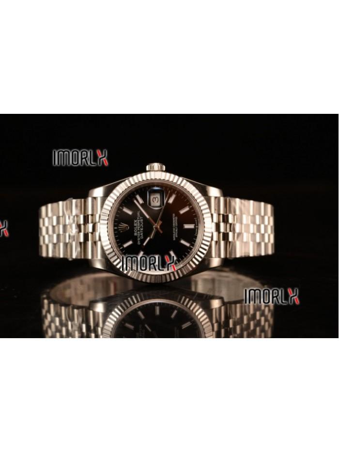 Rolex Datejust 37mm Swiss ETA 2836 Automatic Steel Case with Jubilee Steel Bezel Black Dial Stick Steel Bracelet