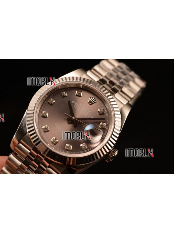 Rolex Datejust 37mm Swiss ETA 2836 Automatic Steel Case with Jubilee Steel Bezel Grey Dial Diamonds Steel Bracelet