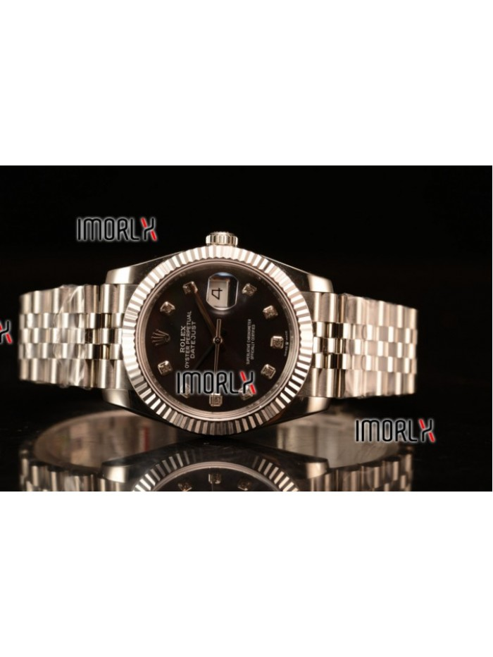 Rolex Datejust 37mm Swiss ETA 2836 Automatic Steel Case with Jubilee Steel Bezel Black Mop Dial Diamonds Steel Bracelet