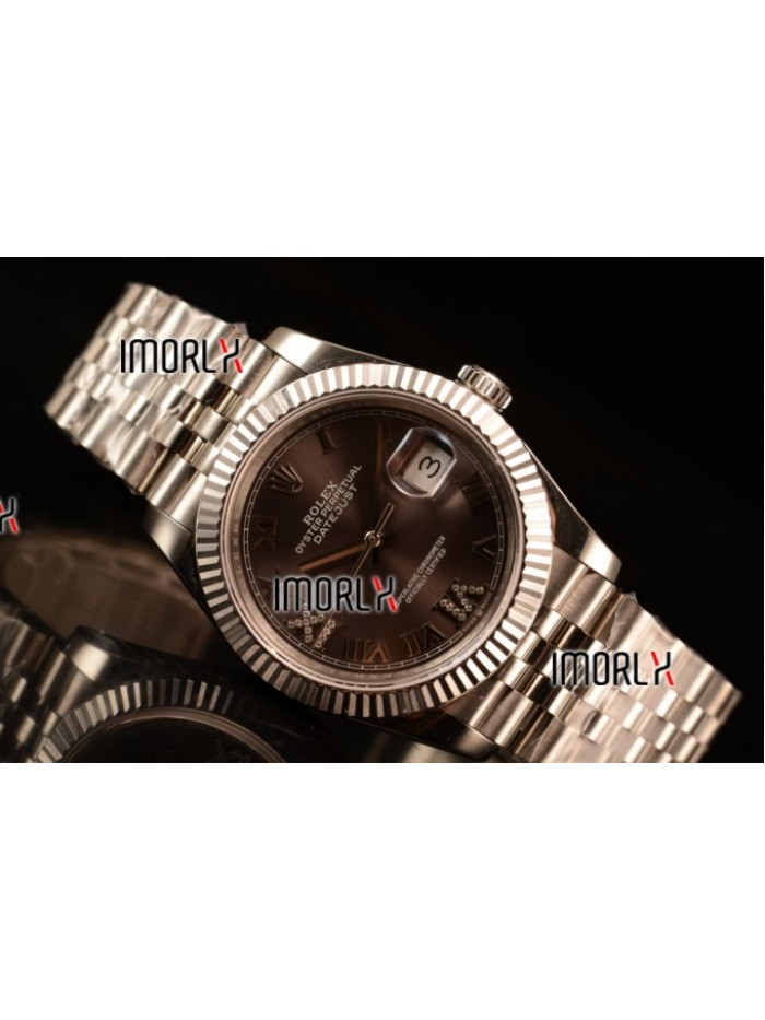 Rolex Datejust 37mm Swiss ETA 2836 Automatic Steel Case with Jubilee Steel Bezel Pink Dial Diamond Roman Steel Bracelet