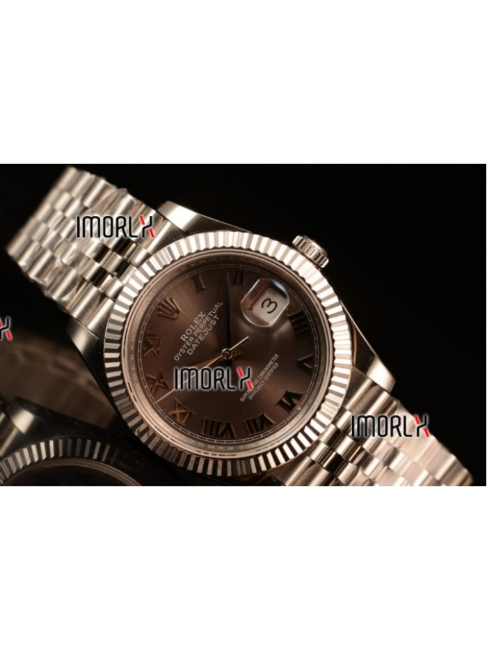 Rolex Datejust 37mm Swiss ETA 2836 Automatic Steel Case with Jubilee Steel Bezel Pink Dial Roman Steel Bracelet
