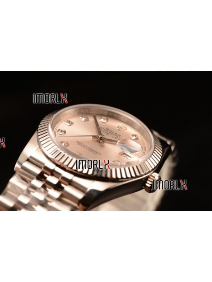 Rolex Datejust 37mm Swiss ETA 2836 Automatic Steel Case with Jubilee Steel Bezel Sliver Dial Diamond Steel Bracelet