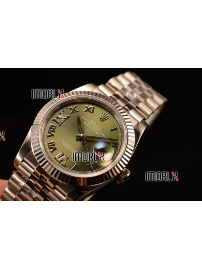 Rolex Datejust 37mm Swiss ETA 2836 Automatic Steel Case with Jubilee Steel Bezel Green Dial Roman Steel Bracelet