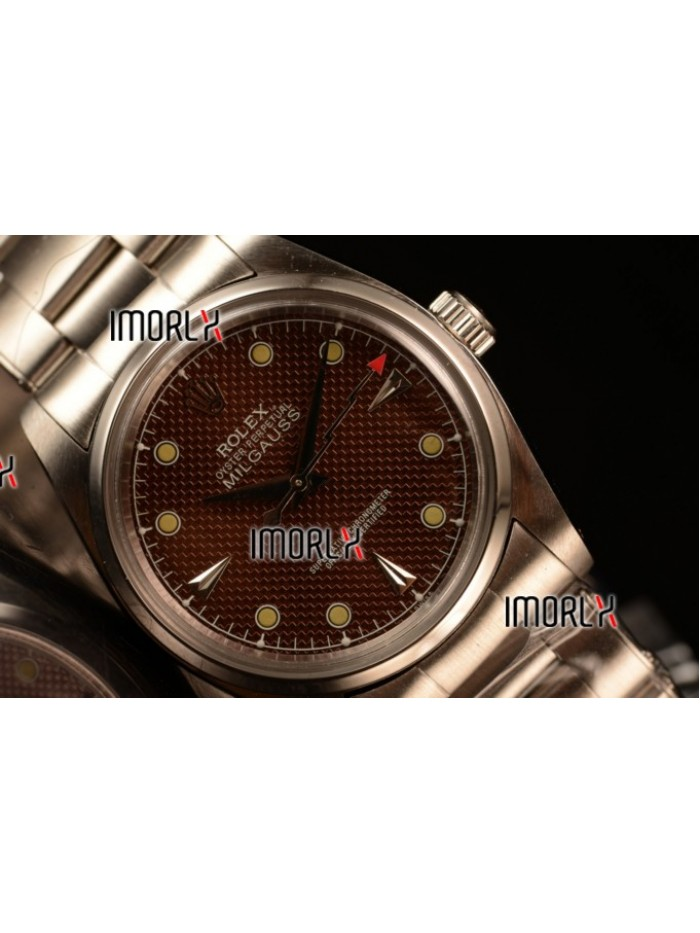 Rolex Milgauss Vintage Steel Case With Brown Dial Yellow Dot Oyster Bracelet