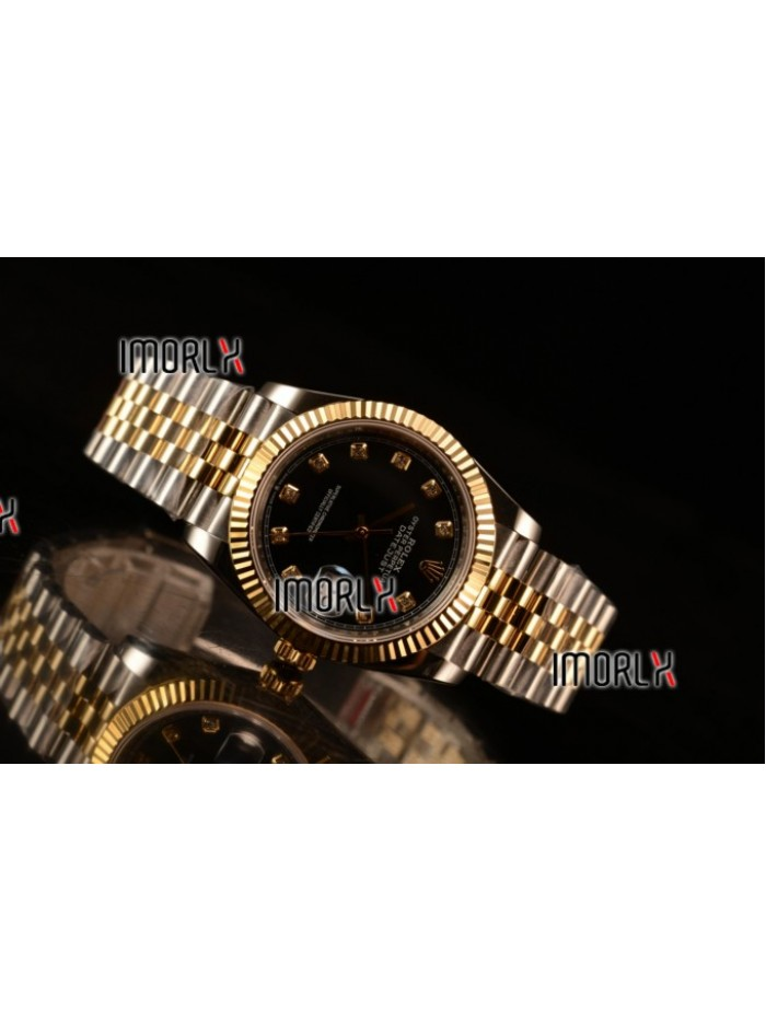 Rolex Datejust 37mm Swiss ETA 2836 Automatic Two Tone with Black Dial and Diamonds Markers