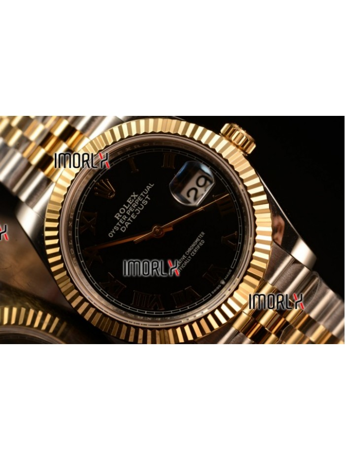 Rolex Datejust 37mm Swiss ETA 2836 Automatic Two Tone with Black Dial and Roman Markers