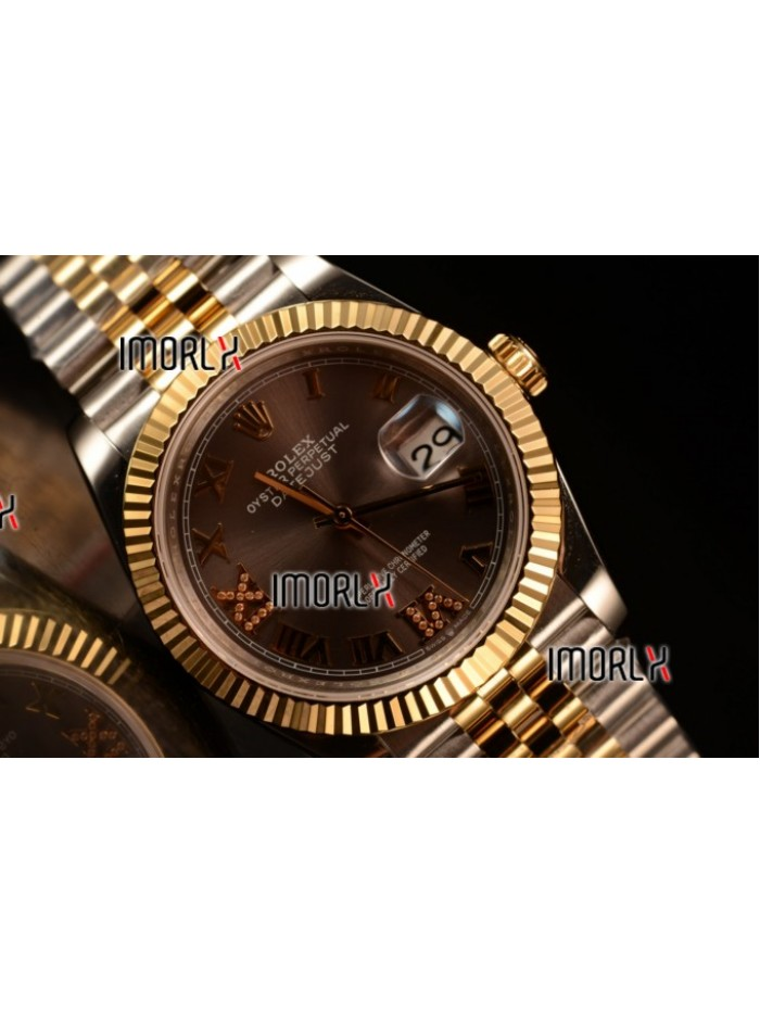 Rolex Datejust 37mm Swiss ETA 2836 Automatic Two Tone with Pink Dial and Roman Markers