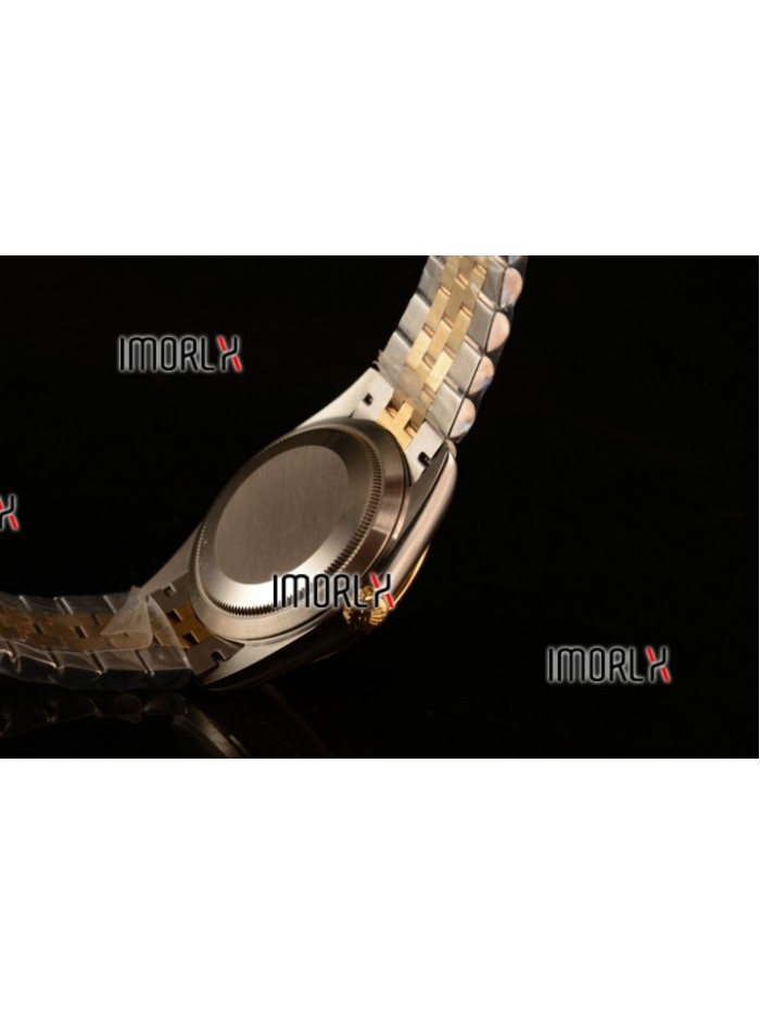 Rolex Datejust 37mm Swiss ETA 2836 Automatic Two Tone with Pink Dial and Diamonds Markers