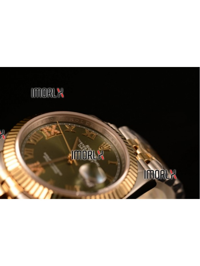 Rolex Datejust 37mm Swiss ETA 2836 Automatic Two Tone with Green Dial and Roman Diamonds Markers
