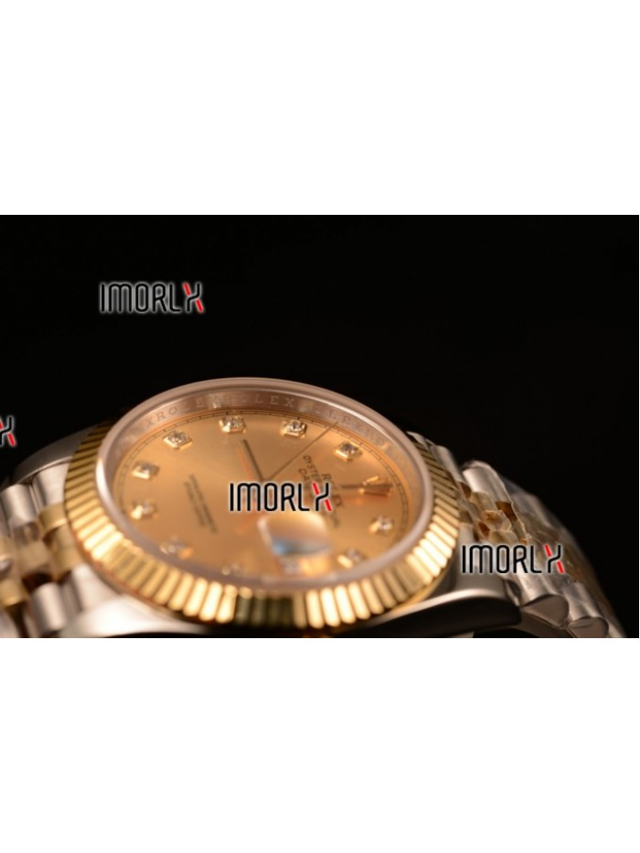 Rolex Datejust 37mm Swiss ETA 2836 Automatic Two Tone with Gold Dial and Diamonds Markers