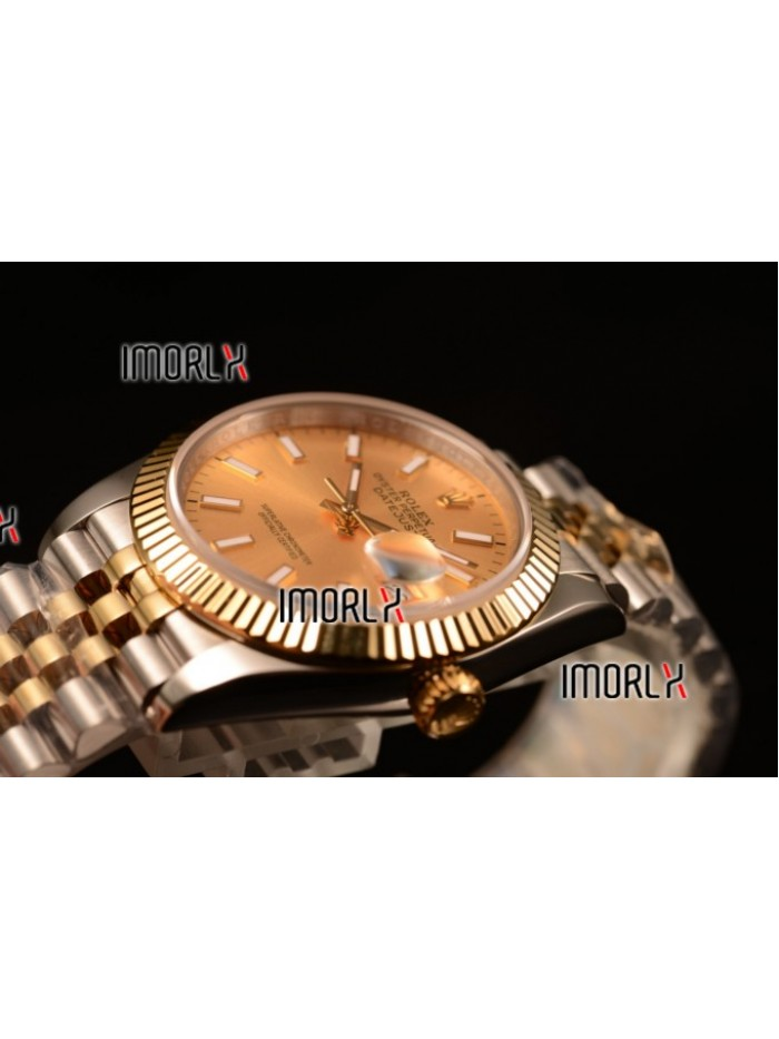 Rolex Datejust 37mm Swiss ETA 2836 Automatic Two Tone with Gold Dial and Stick Markers