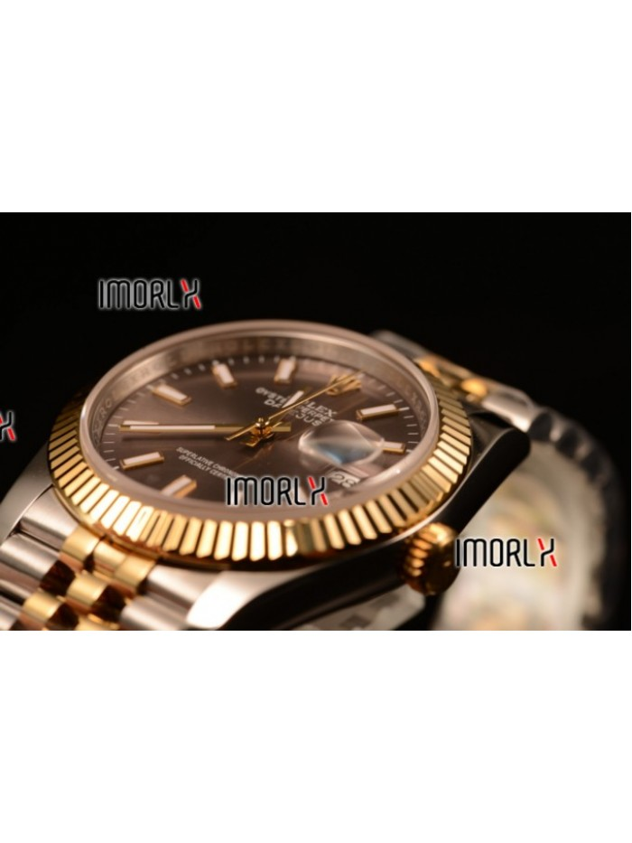 Rolex Datejust 37mm Swiss ETA 2836 Automatic Two Tone with Grey Dial and Stick Markers