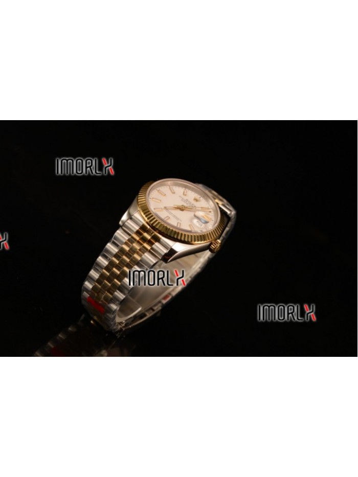 Rolex Datejust 37mm Swiss ETA 2836 Automatic Two Tone with White Dial and Stick Markers