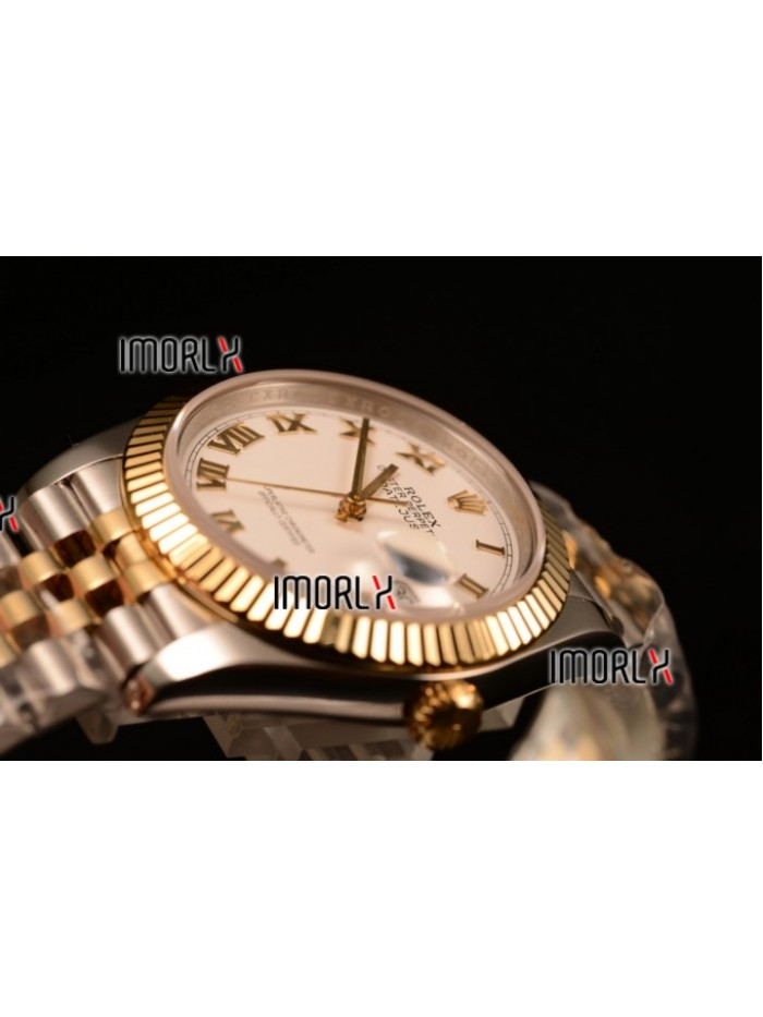 Rolex Datejust 37mm Swiss ETA 2836 Automatic Two Tone with White Dial and Roman Markers