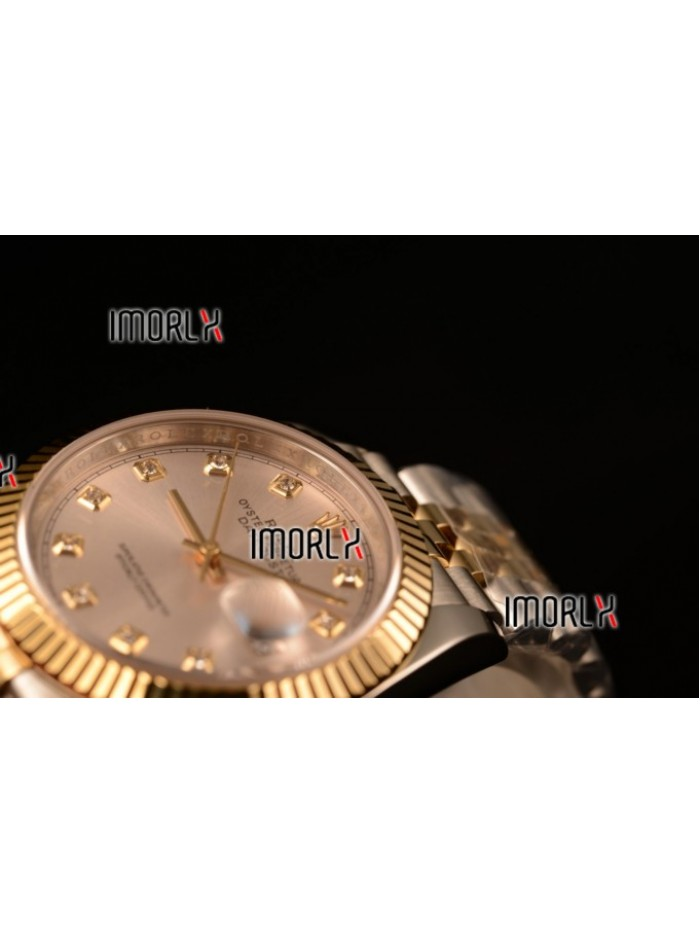 Rolex Datejust 37mm Swiss ETA 2836 Automatic Two Tone with Sliver Dial and Diamonds Markers
