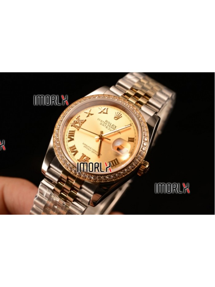 Rolex Datejust 37mm Swiss ETA 2836 Automatic Two Tone with Gold Dial and Roman Diamods Markers Diamonds Bezel