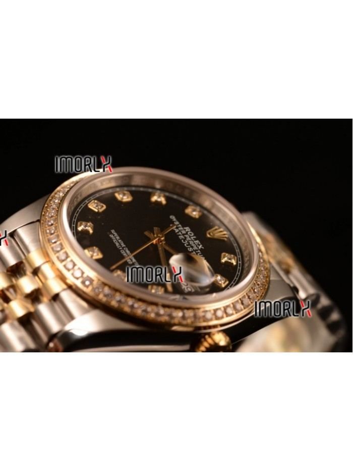 Rolex Datejust 37mm Swiss ETA 2836 Automatic Two Tone with Black Dial and Diamods Markers Diamonds Bezel