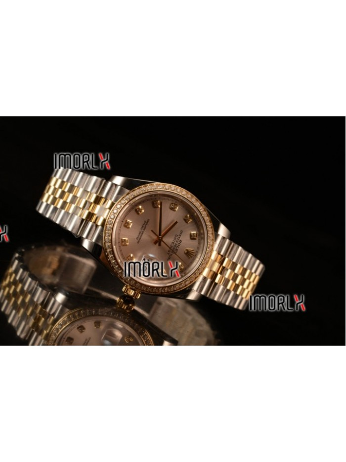 Rolex Datejust 37mm Swiss ETA 2836 Automatic Two Tone with Sliver Dial and Diamods Markers Diamonds Bezel