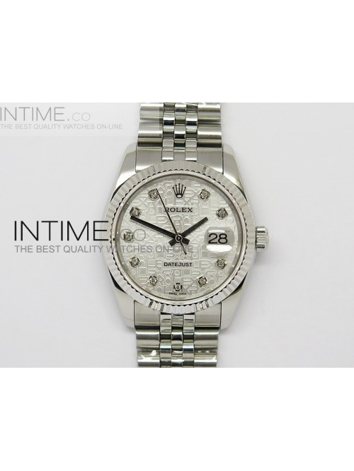 DateJust 116234 SS Sliver Textured Dial Diamonds M...