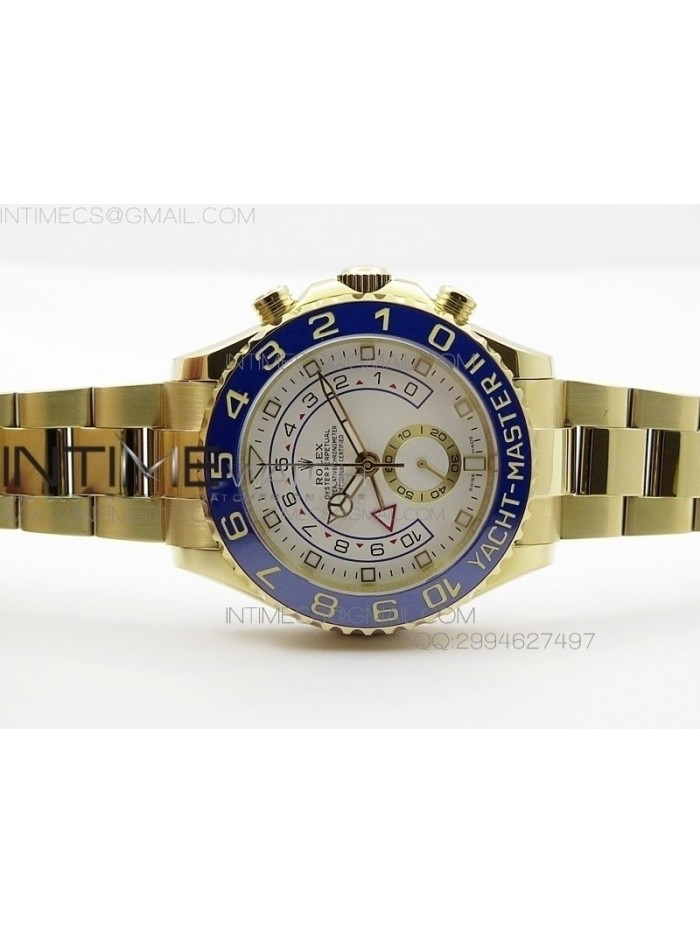 YachtMaster II YG BP New Version White Dial on YG Bracelet A7750