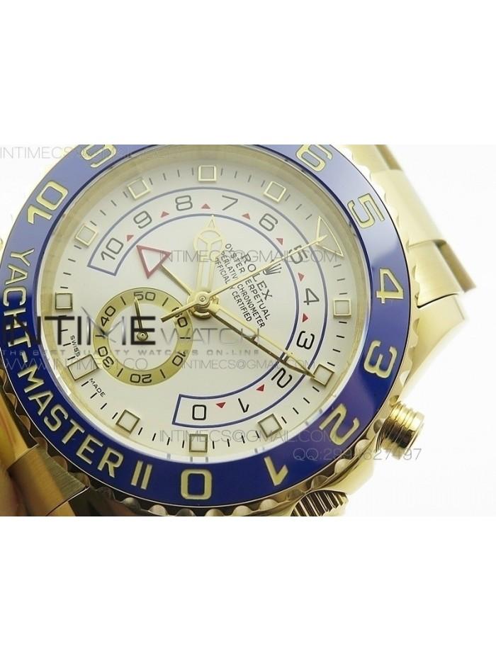 YachtMaster II YG BP New Version White Dial on YG Bracelet A7750