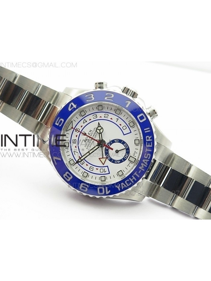 YachtMaster II 116680 SS NEW VERSION JF 1:1 Best Edition White Dial Blue Ceramic Bezel on Bracelet A7750