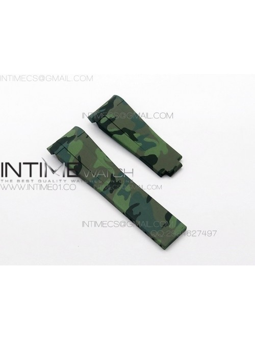 Camouflage RubberB Green Strap for deployant buckl...
