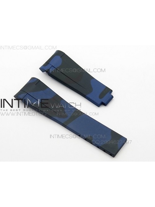 Camouflage RubberB Blue Strap for deployant buckle...