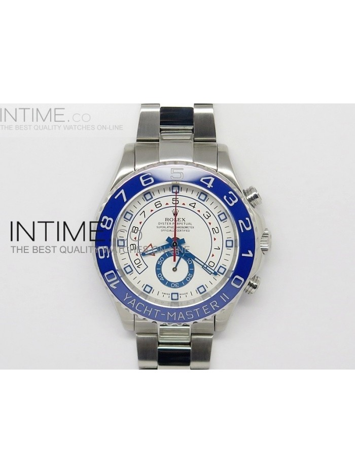 2014 YachtMaster II SS White Dial Blue Ceramic Bezel on Bracelet A7750