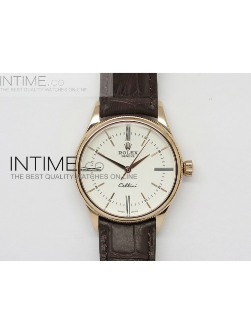 Cellini 50505 BP Maker RG White Dial on Brown Leat...