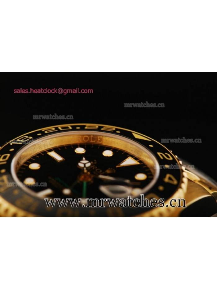 Rolex GMT-Master II Black Dial Yellow Gold Mens Watch - 80319