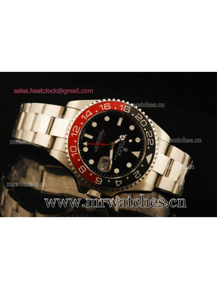 Rolex GMT-Master II Black/Red Bezel Full Steel Mens Watch - 116710SL