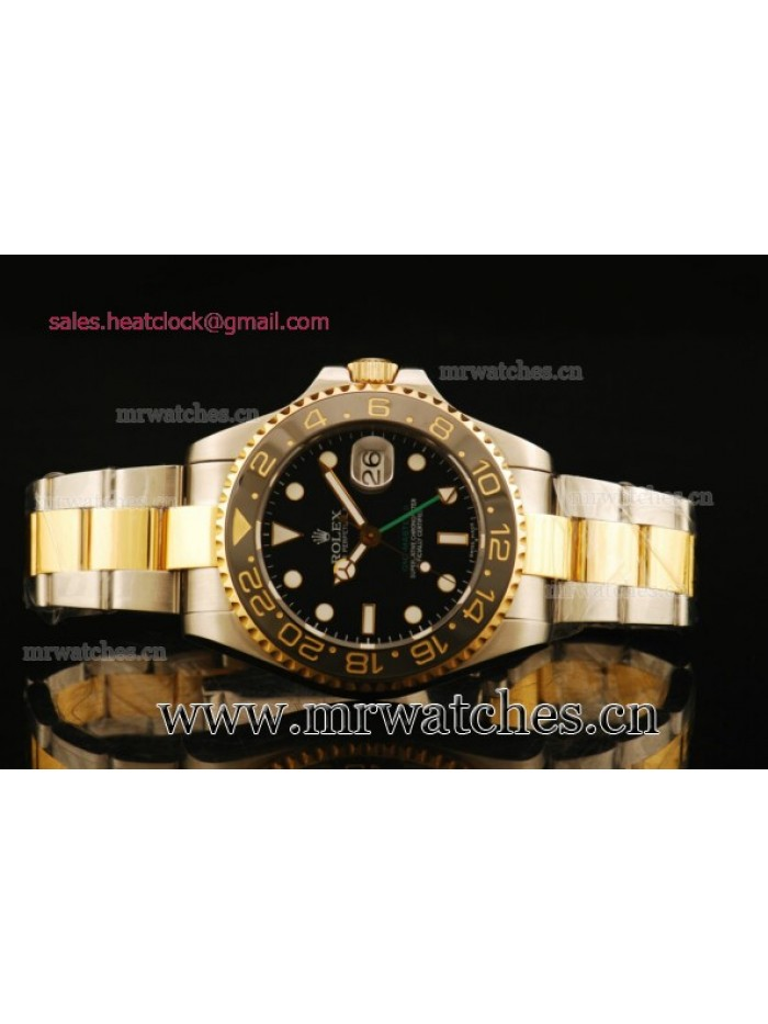 Rolex GMT-Master II Black Dial Yellow Gold Mens Watch - 1671308