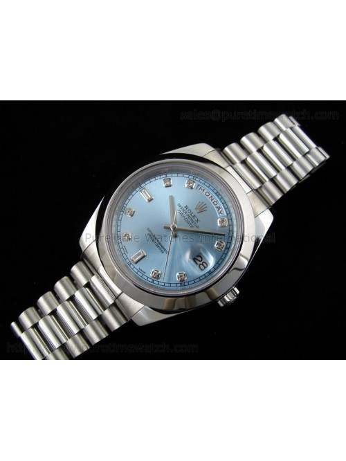 Day-Date II SS Ice-Blue Diamond Dial A3156 Best Ed...