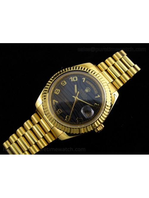 Day-Date II Yellow Gold Black Numeral Dial A3156 B...