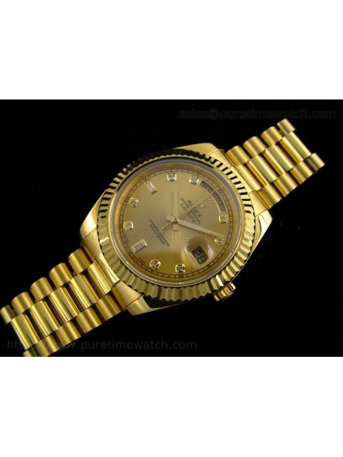 Day-Date II Yellow Gold Gold Diamond Dial A3156 Be...